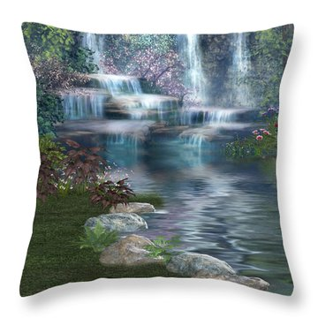 Fairies Hidden Lake Throw Pillow