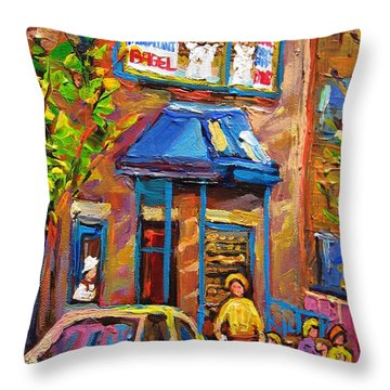 Fairmount Bagel Fairmount Street Montreal Throw Pillow by Carole Spandau