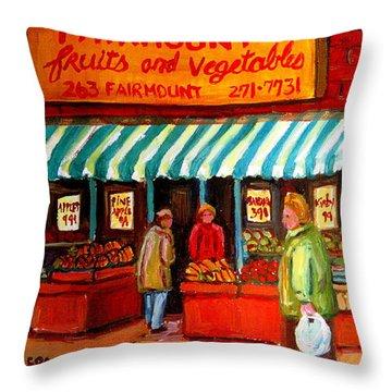 Fairmount Fruit And Vegetables Throw Pillow by Carole Spandau