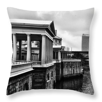 Fairmount Water Works In Black And White Throw Pillow by Bill Cannon