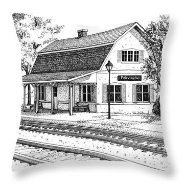 Fairview Ave Train Station Throw Pillow