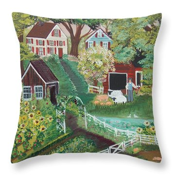Throw Pillow featuring the painting Fairview Farm by Virginia Coyle