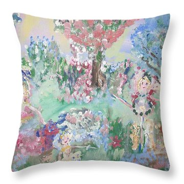 Fairy Ballet In The Park Throw Pillow by Judith Desrosiers