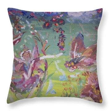 Fairy Ballet Throw Pillow by Judith Desrosiers