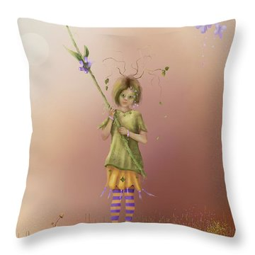 Fairy Bella Lavender Throw Pillow