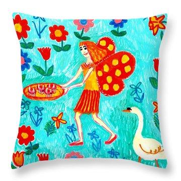 Fairy Cakes Throw Pillow by Sushila Burgess