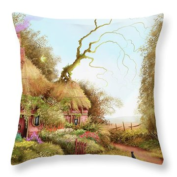 Fairy Chase Cottage Throw Pillow