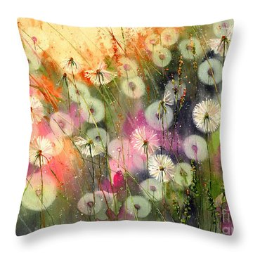 Fairy Dandelions Fields Throw Pillow