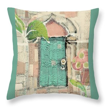 Throw Pillow featuring the mixed media Fairy Door by Carrie Joy Byrnes