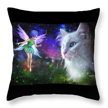 Fairy Encounters Cat  Throw Pillow