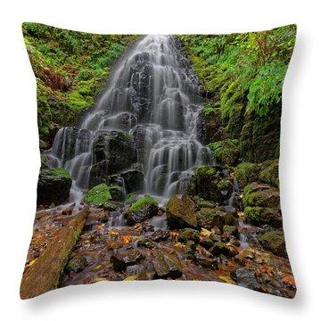Throw Pillow featuring the photograph Fairy Falls by Jonathan Davison