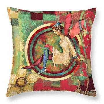 Throw Pillow featuring the mixed media Fairy Land One by Carrie Joy Byrnes