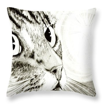 Fairy Light Tabby Cat Drawing Throw Pillow