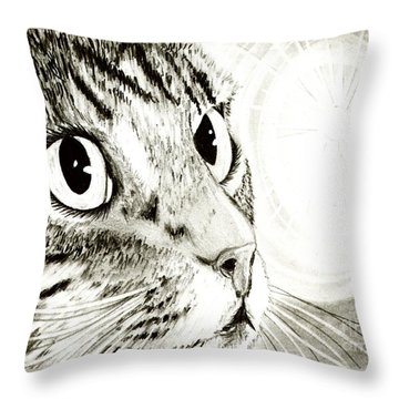Throw Pillow featuring the drawing Fairy Light Tabby Cat Drawing by Carrie Hawks