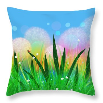 Fairy Meadow With Dandelions Throw Pillow