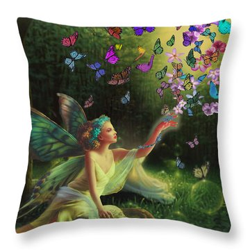 Fairy Of The Butterflies Throw Pillow by Edelberto Cabrera