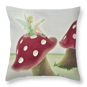 Fairy On Mushroom Trees Throw Pillow
