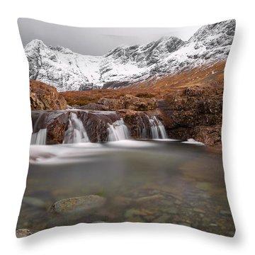 Fairy Pools, Isle Of Skye In Winter Throw Pillow