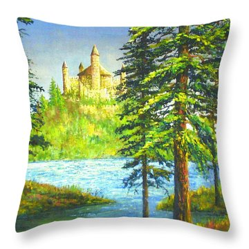 Fairy Tale Castle Throw Pillow by Lou Ann Bagnall