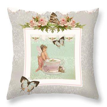 Fairy Teacups - Flutterbye Butterflies And English Rose Damask Throw Pillow