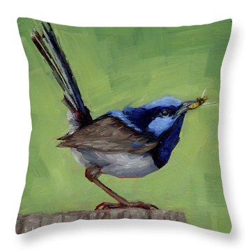 Fairy Wren With Lunch  Throw Pillow