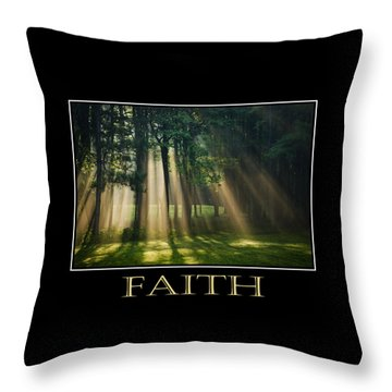 Faith Inspirational Motivational Poster Art Throw Pillow by Christina Rollo