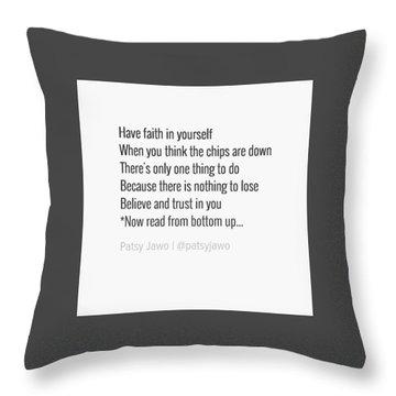 Faith Throw Pillow by Patsy Jawo