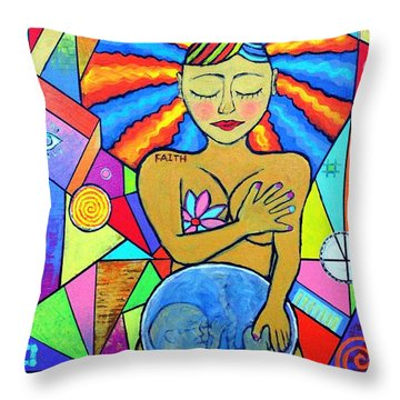 Faith, She Carries The World On Her Hips Throw Pillow by Jeremy Aiyadurai