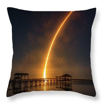 Falcon 9  Night Launch Throw Pillow