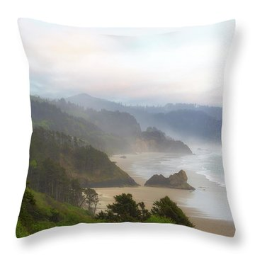 Falcon And Silver Point At Oregon Coast Throw Pillow