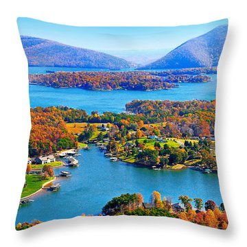Fall Aerial Smith Mountain Lake Throw Pillow