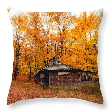 Fall At The Sugar House Throw Pillow by Robert Clifford