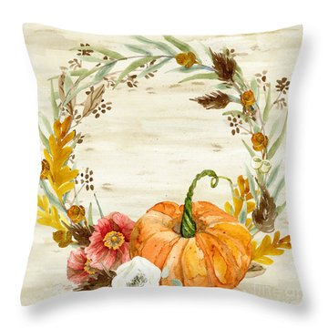Fall Autumn Harvest Wreath On Birch Bark Watercolor Throw Pillow