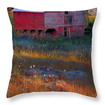 Fall Barn Throw Pillow by Ron Jones