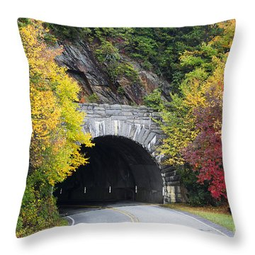 Fall Blue Ridge Parkway @ Rough Ridge Tunnel  Throw Pillow