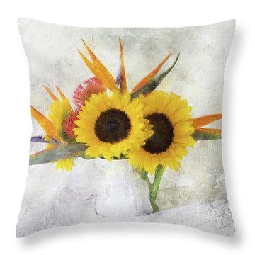 Throw Pillow featuring the digital art Fall Bouquet by Sue Collura