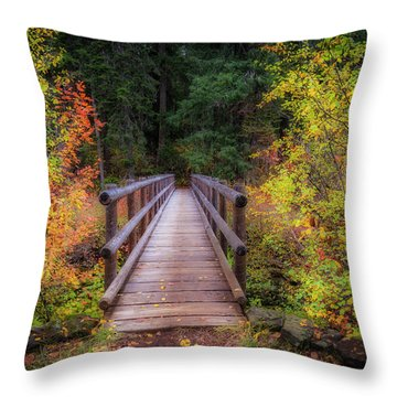 Throw Pillow featuring the photograph Fall Bridge by Cat Connor