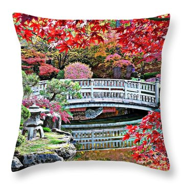 Fall Bridge In Manito Park Throw Pillow by Carol Groenen