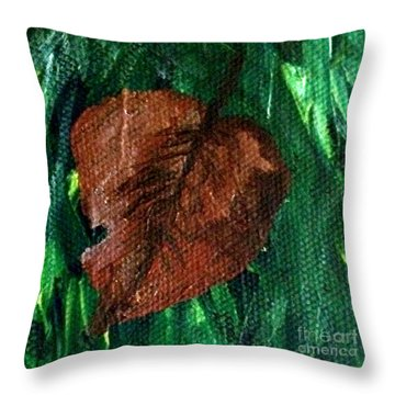 Throw Pillow featuring the painting Fall Brown Leaf by Janelle Dey