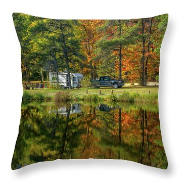 Fall Camping Throw Pillow