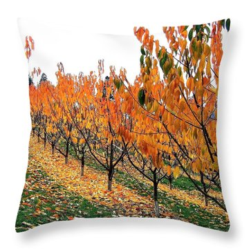 Fall Cherry Orchard Throw Pillow
