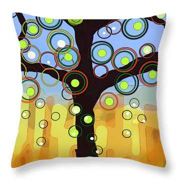 Fall Circles Throw Pillow by Patricia Arroyo