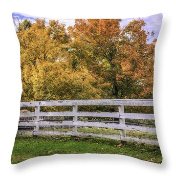 Fall Color And Fence Throw Pillow