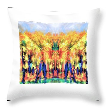Fall Color Face Throw Pillow by Shirley Moravec