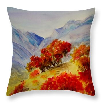 Throw Pillow featuring the painting Fall Color by Jamie Frier