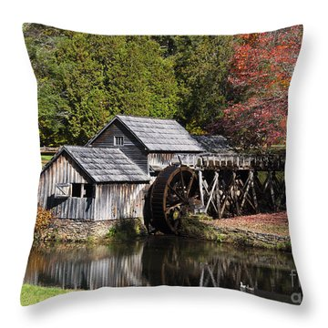 Fall Colors At Mabry Mill Blue Ridge Parkway Throw Pillow
