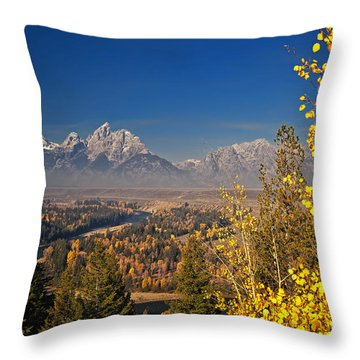 Fall Colors At The Snake River Overlook Throw Pillow by Sam Antonio Photography