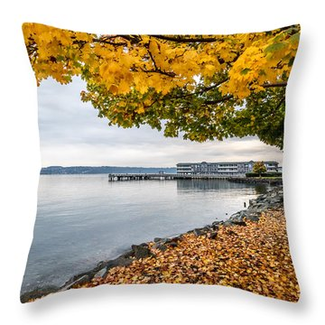 Fall Colors Framing Commencement Bay Throw Pillow