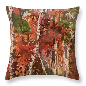 Fall Colors Throw Pillow by Geeta Biswas