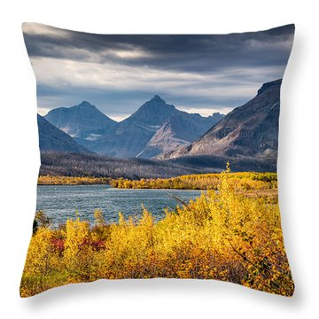 Fall Colors In Glacier National Park Throw Pillow